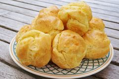 Plate of French gougeres cheese puff choux Royalty Free Stock Photography