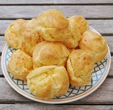 Plate of French gougeres cheese puff choux Stock Image