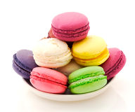 Plate of French macaroons Royalty Free Stock Images