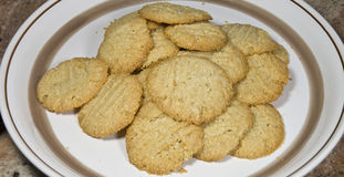 Plate of fresh almond cookies 24 stock images