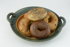 Plate of fresh bagels Royalty Free Stock Photography