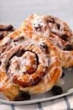 Plate of fresh baked cinnamon buns Stock Image