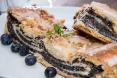 Plate with fresh baked Poppy-Seed Cake Stock Images