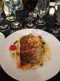 Branzino Fish, Dinner of Fish, Mashed Potatoes, and Succotash royalty free stock image