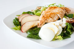 Plate of fresh chopped grilled chicken salad. On a white background Royalty Free Stock Image