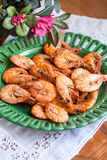 Plate of fresh cooked prawns Royalty Free Stock Photo