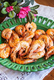 Plate of fresh cooked prawns Royalty Free Stock Image