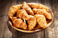 Plate of fresh croissants Stock Images