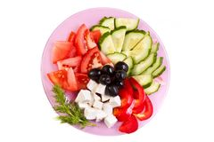 Plate of fresh cut vegetables Royalty Free Stock Image