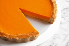 Plate with fresh delicious homemade pumpkin pie stock image