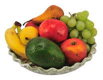 Plate of fresh fruit Stock Images