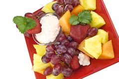 Plate of Fresh Fruit with Fruit Dip Stock Photo