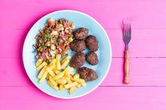 Plate of fresh homemade Turkish kofta meatballs Royalty Free Stock Photography