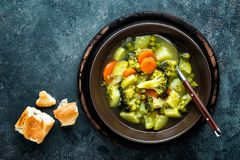 Plate of fresh hot vegetable soup with broccoli Royalty Free Stock Images
