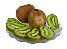 Plate with fresh kiwi. Isolated on white background Stock Images