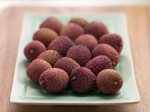 Plate Of Fresh Lychees Stock Photo