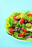 Plate of fresh mixed salad with olives Royalty Free Stock Photos