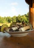 Plate with fresh mushrooms (Boletus edulis).Vertical stock image