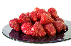 Plate of fresh picked strawberries Stock Photo