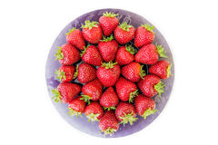 Plate of fresh picked strawberries Royalty Free Stock Photos