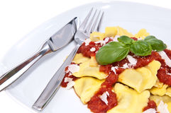 Plate with fresh Raviolis isolated on white Stock Images