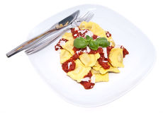 Plate with fresh Raviolis isolated on white Royalty Free Stock Photography