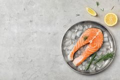 Plate with fresh raw salmon steak and ice cubes. On gray background, top view Stock Image