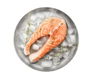 Plate with fresh raw salmon steak and ice cubes. On white background, top view Royalty Free Stock Photography