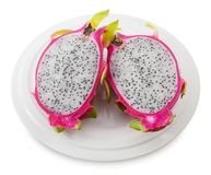 Plate of Fresh Ripe Dragon Fruit on White Background. Fresh Fruits, A Dish of Ripe and Sweet Dragon Fruit or Pitaya Isolated on White Background Stock Photography