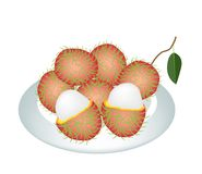 A Plate of Fresh Ripe and Juicy Rambutans Royalty Free Stock Images