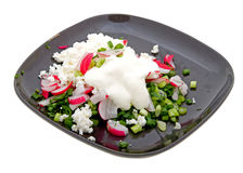 Plate of fresh salad isolated on white Royalty Free Stock Image