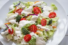 Plate of Fresh Salad with Ranch Dressing. Plate of homemade fresh salad with buttermilk ranch dressing, tomatoes, broccoli, cabbage and carrots served over a stock photo