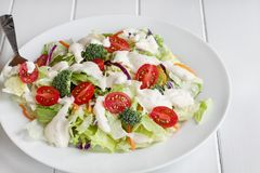 Plate of Fresh Salad with Ranch Dressing. Plate of homemade fresh salad with buttermilk ranch dressing, tomatoes, broccoli, cabbage and carrots served over a stock photography