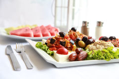 A plate of Fresh salads with natural lemonade Stock Images