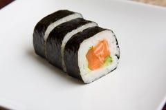 Plate of fresh salmon japanese sushi Royalty Free Stock Photo
