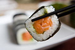 Plate of fresh salmon japanese sushi Stock Photo