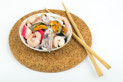 Plate with fresh seafood Stock Image
