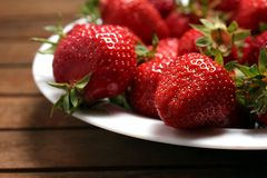 A plate of fresh strawberries Stock Photo