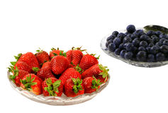 Plate of fresh Strawberries and Blueberries Royalty Free Stock Image