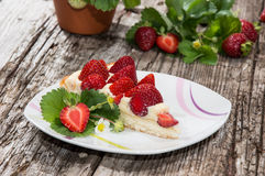 Plate with fresh Strawberry Pie Royalty Free Stock Photo
