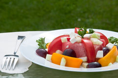 Plate of fresh summer salad. With tomeaotes, watermelon, bell peppers, grapes, feta cheese and cucumber Royalty Free Stock Image