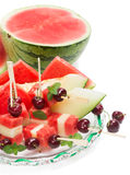 Plate of fresh summer salad with watermelon and  melon salad wit Royalty Free Stock Images