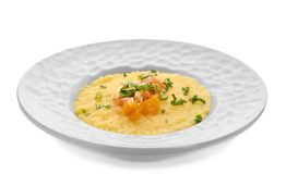 Plate with fresh tasty shrimp and grits stock photography