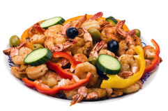 Grilled Tiger Shrimp and Vegetables Stock Images