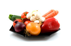 Plate with fresh vegetables Stock Photography