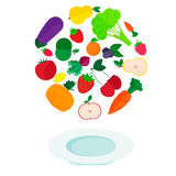 Plate with fresh vegetables and fruits. Flat vector illustration - plate with fresh vegetables and fruits Royalty Free Stock Images