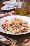Plate of freshly prepared pilaf Stock Photos