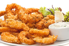 Plate of fried in batter squid  with sauce. Stock Photography