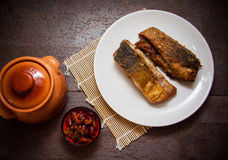 Plate of fried carp Stock Photo
