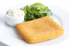 Plate of fried cheese with chips, tartar sauce and salad Stock Image